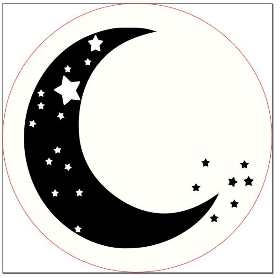 Moon and stars in and outboss acrylic stamp for fondant