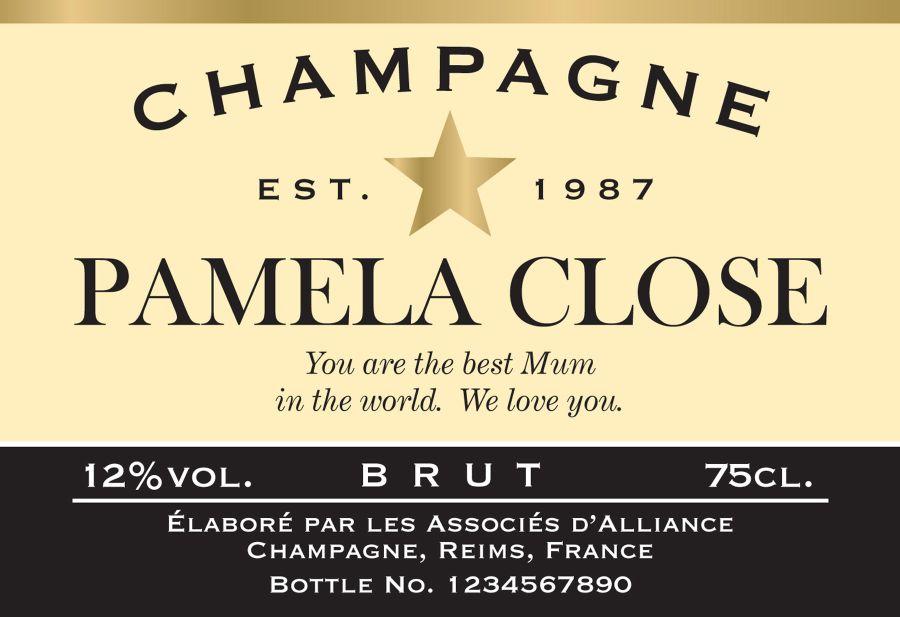 Champagne label bespoke design Cake topper icing or wafer sheet