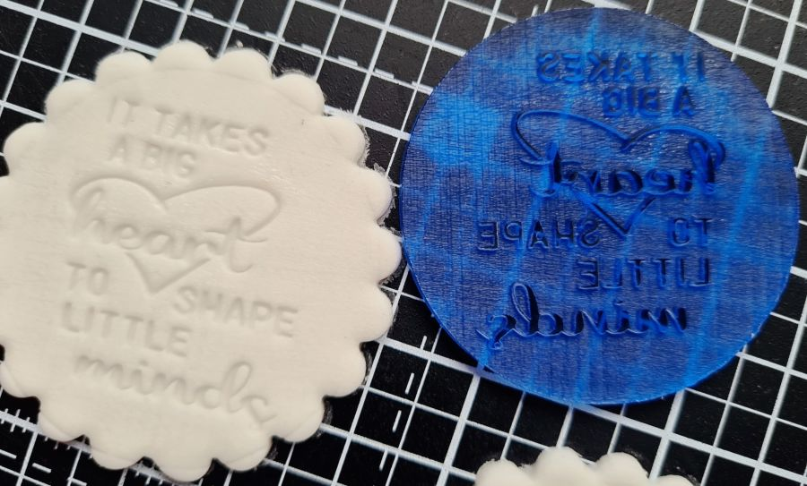 It takes a big heart to shape little minds instamp fondant boss stamp