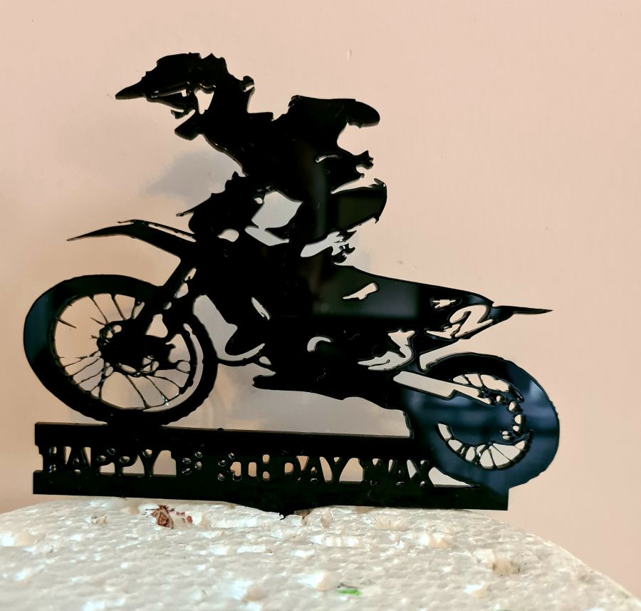 Motor Bike Dirt Bike with rider name birthday acrylic cake topper