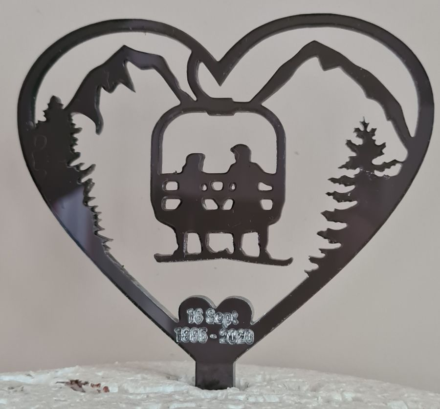 Ski wedding anniversary with dates acrylic cake topper