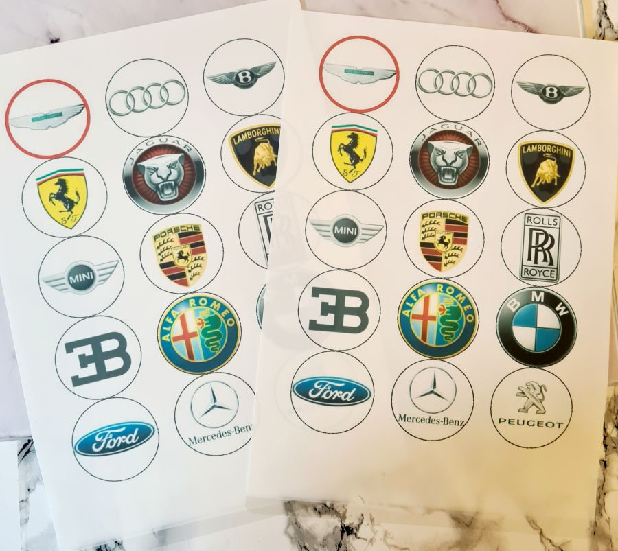 Mix of car emblems Cupcake Toppers X 15