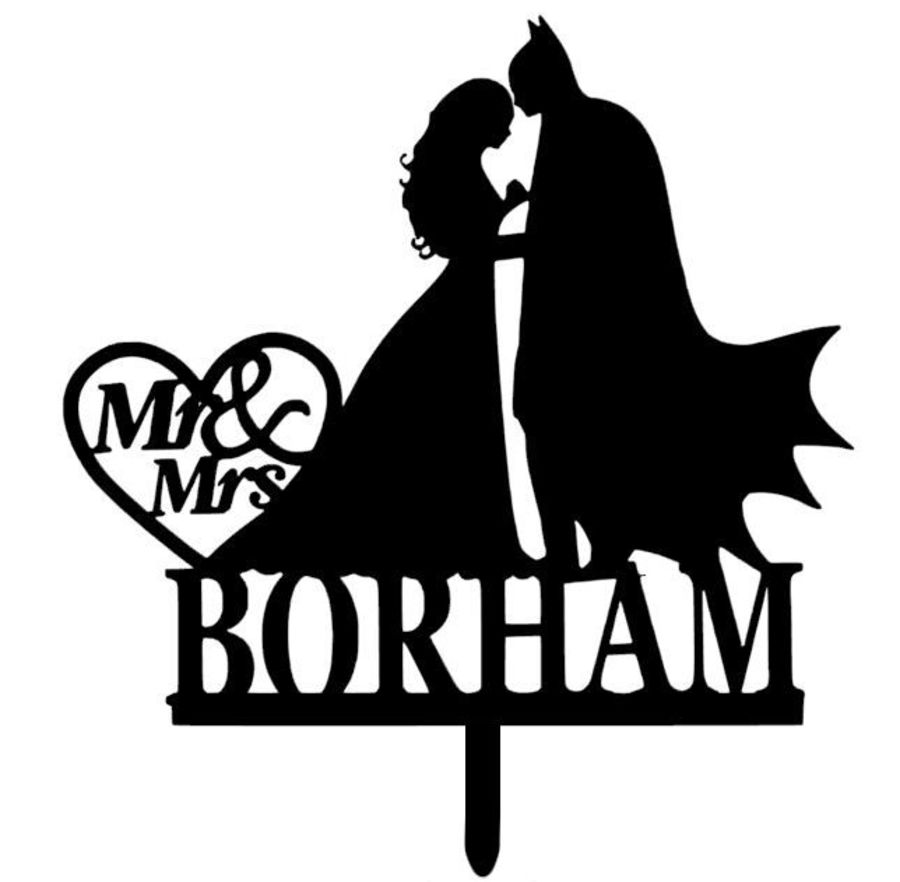Mr & Mrs Batman with heart acrylic cake topper