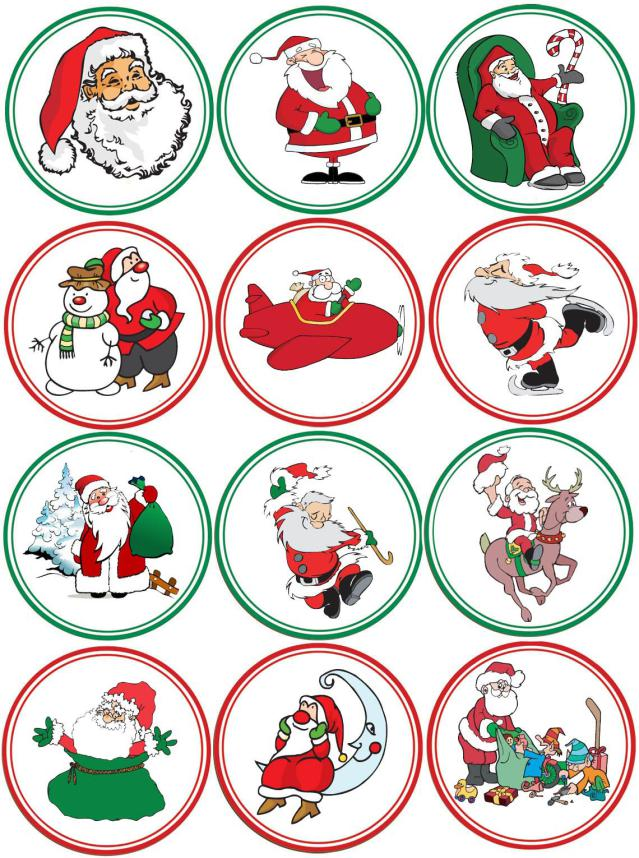 Christmas Toppers For Cupcakes.Christmas Cupcake Toppers X 12
