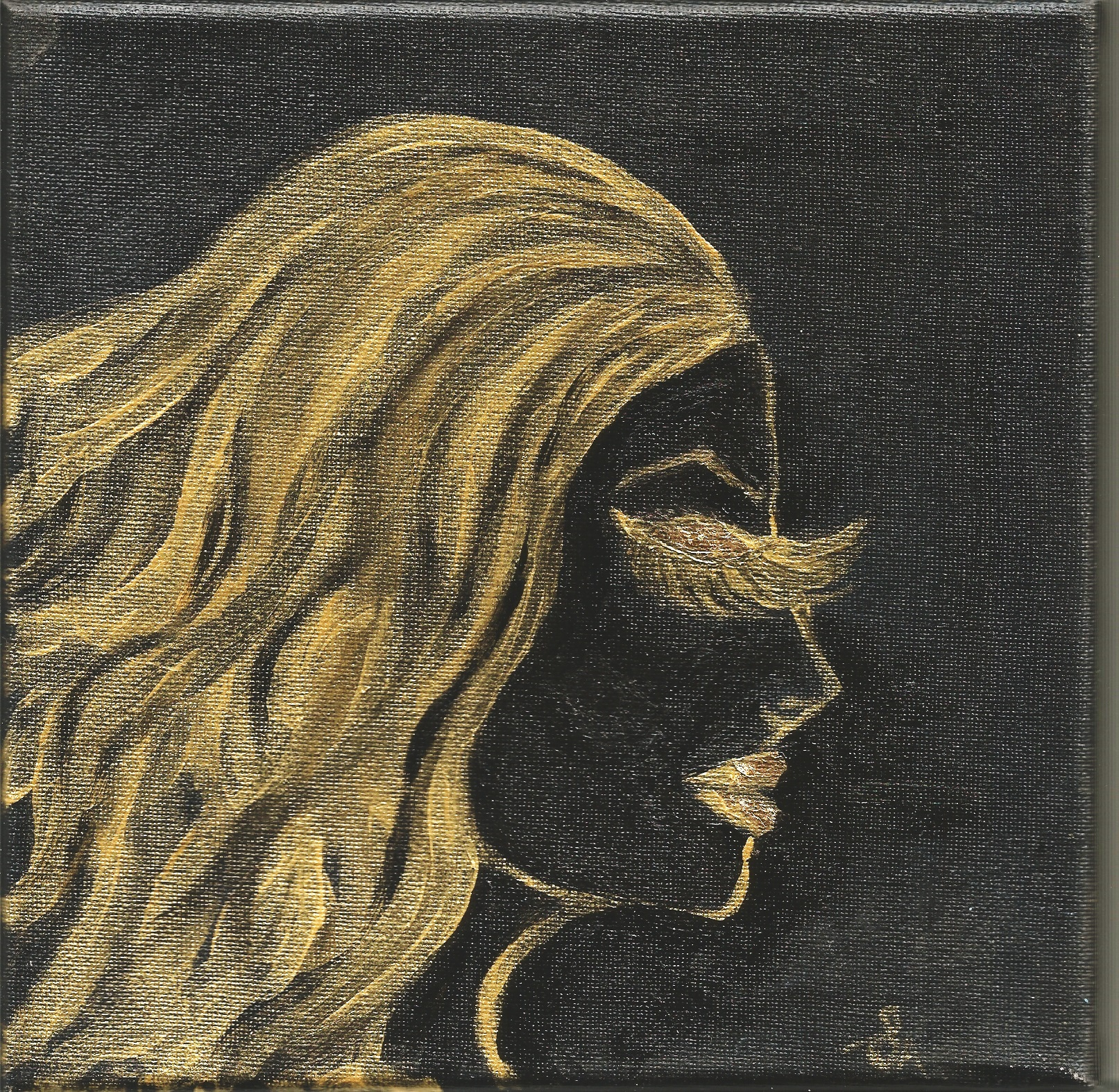 SILHOUETTE LADY GOLD ACRYLICS ON BLACK REAL GOLD LEAF 24K ON EYELIDS AND LIPS CANVAS PAINTING ORIGINAL