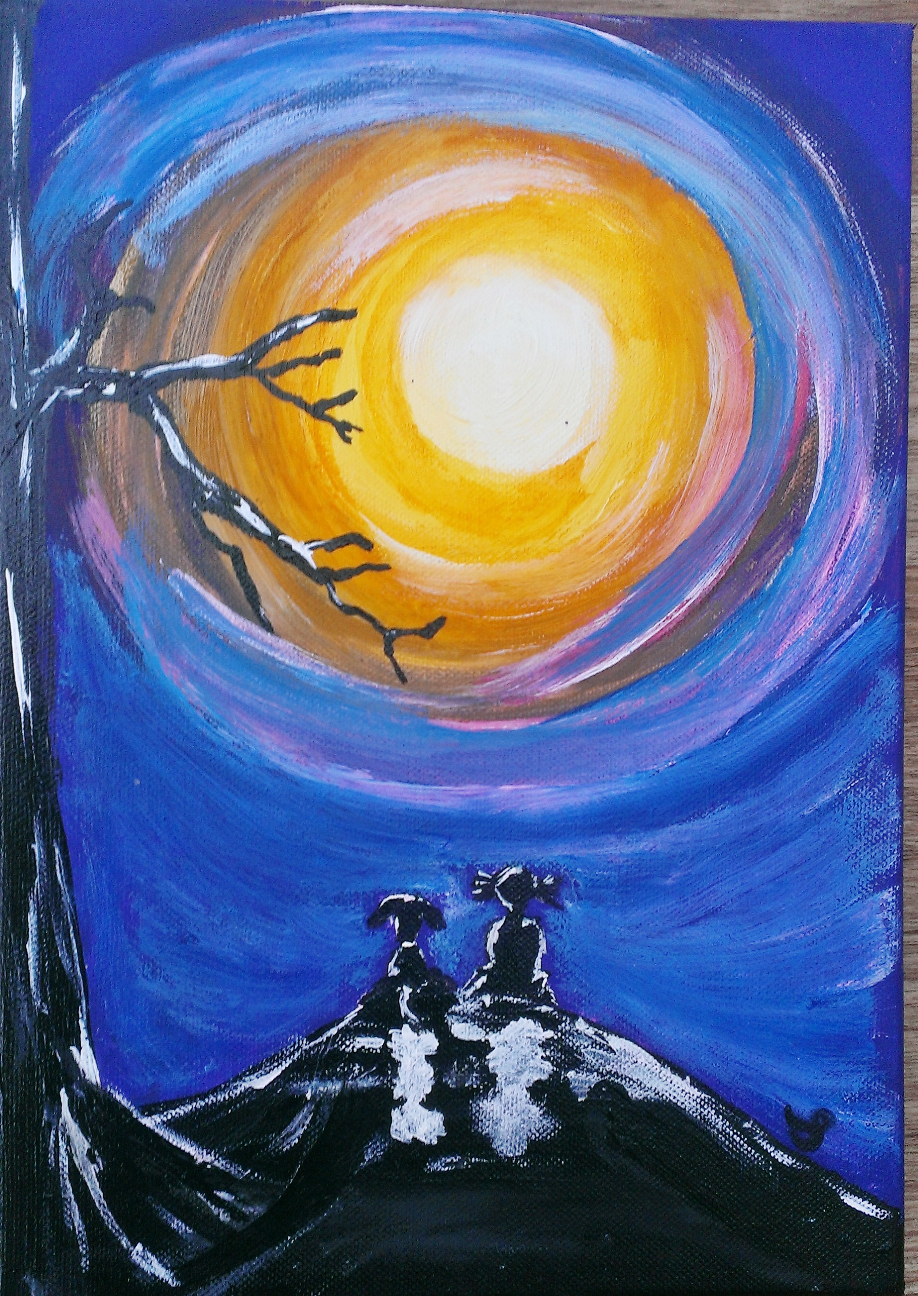 MY BEST FRIEND GIRL AND DOG LOOKING AT MOON SURREAL ACRYLICS ORIGINAL PAINTING