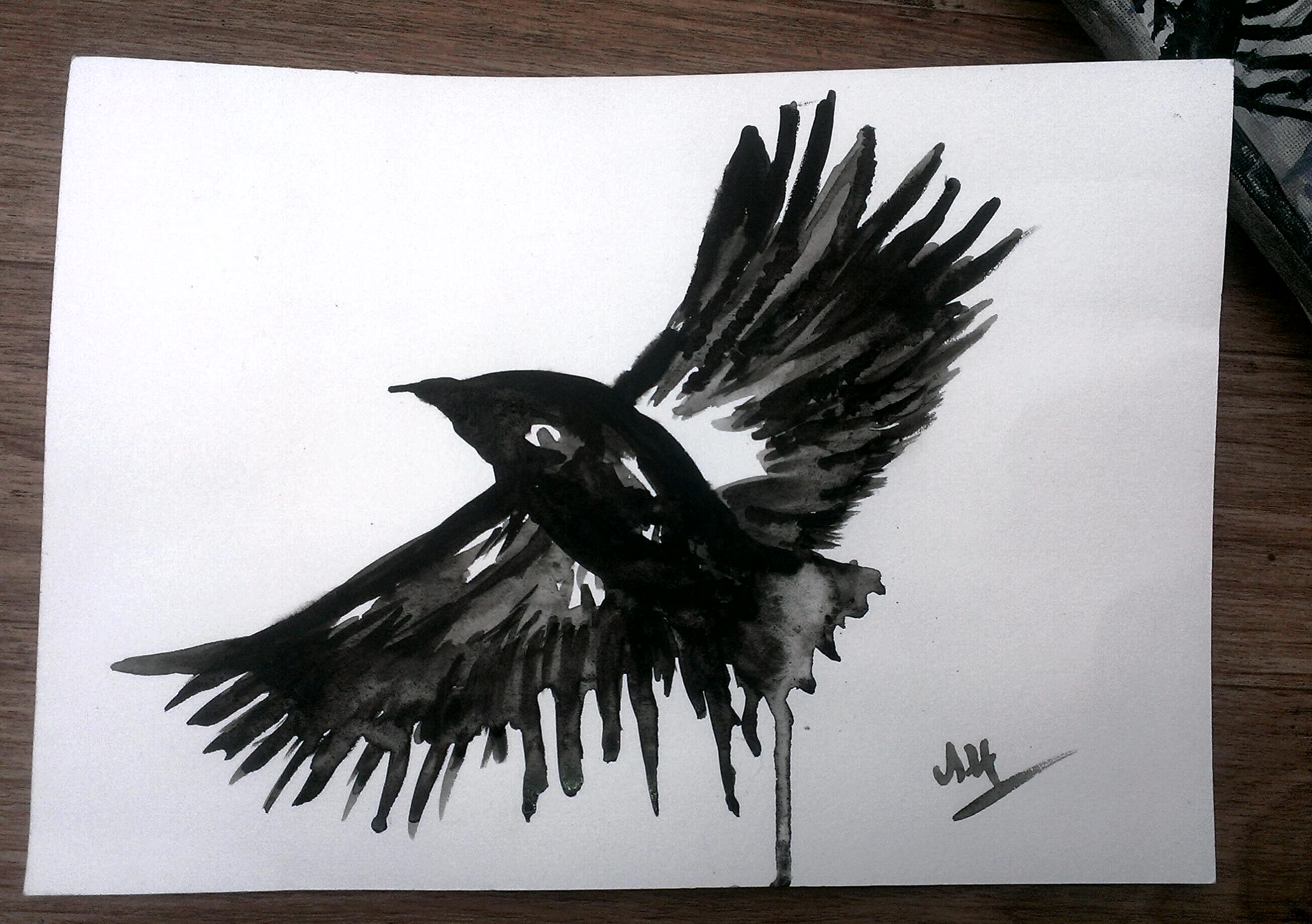WATERCOLOUR PAINTING BLACK CROW A4 ORIGINAL PAINTING