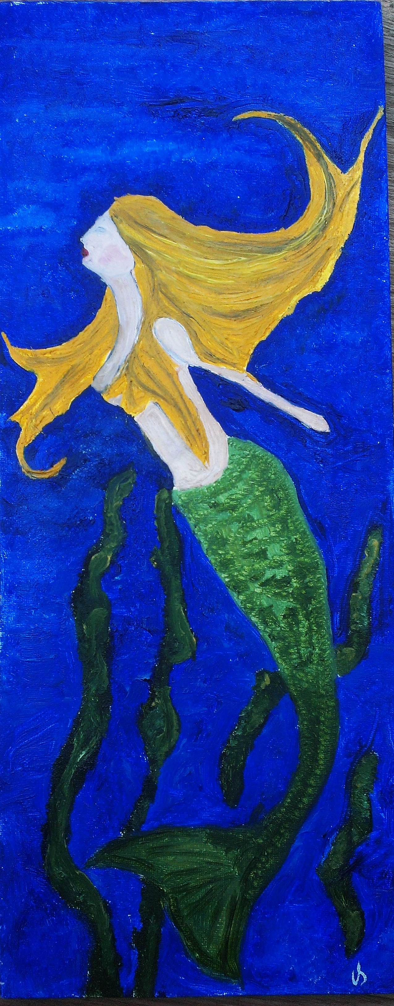 MERMAID IN OIL PAINTS ORIGINAL PAINTING