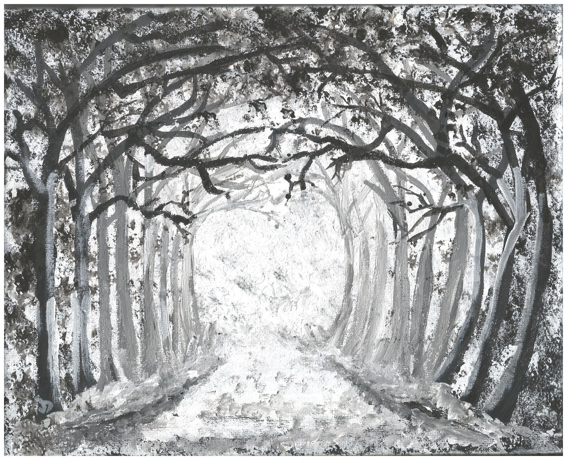 BLACK AND WHITE ORIGINAL PAINTING SNOWY WOODS ACRYLICS ON CANVAS FRAME