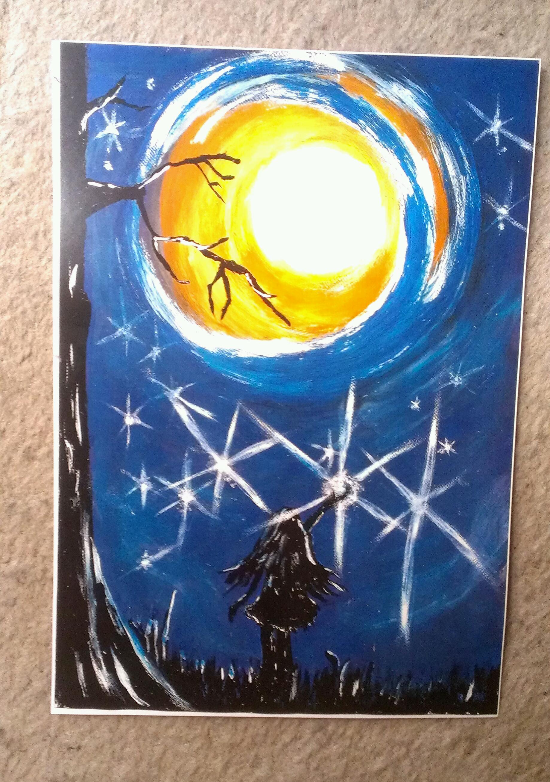 CATCH A FALLING STAR ACRYLICS ORIGINAL PAINTING A4