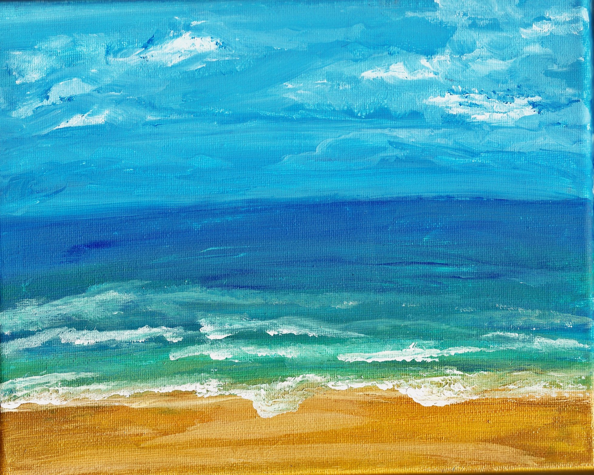 ACRYLICS ON FRAMED CANVAS VIBRANT BEACH SEASIDE SCENE