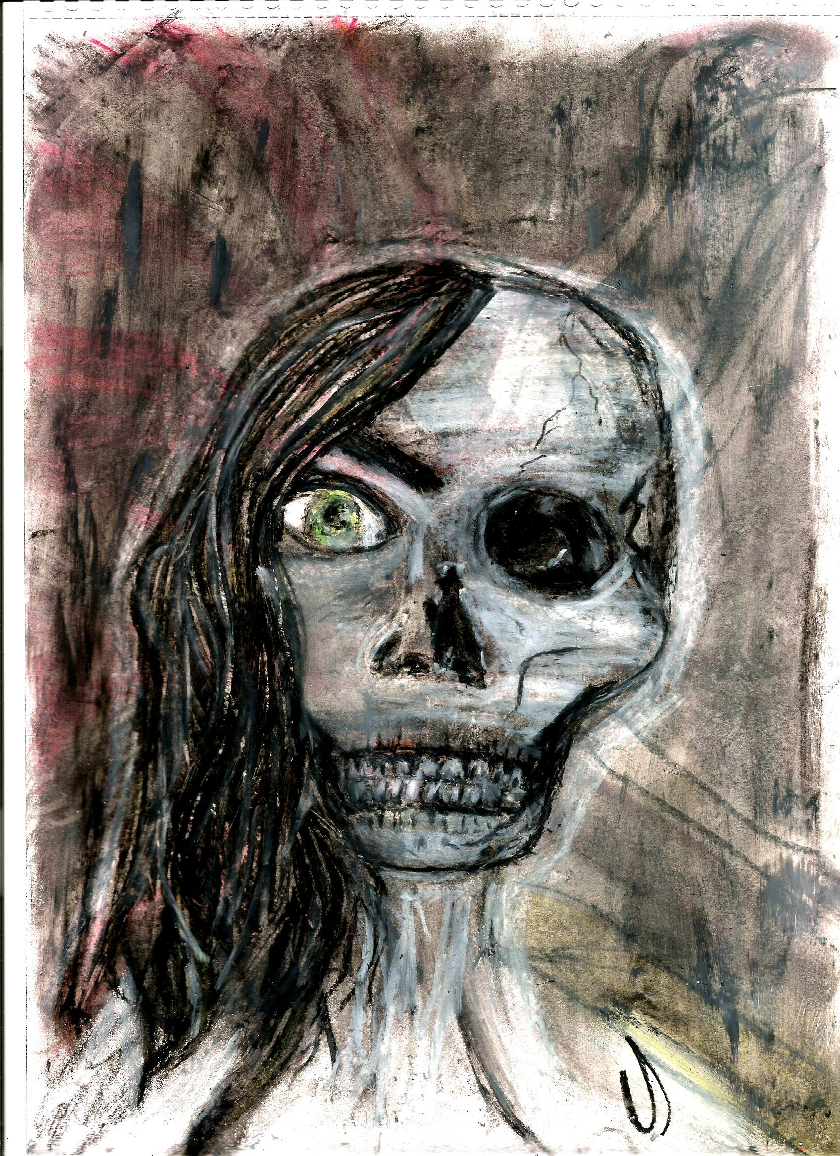 OIL PASTELS SKULL LADY ORIGINAL DRAWING A4