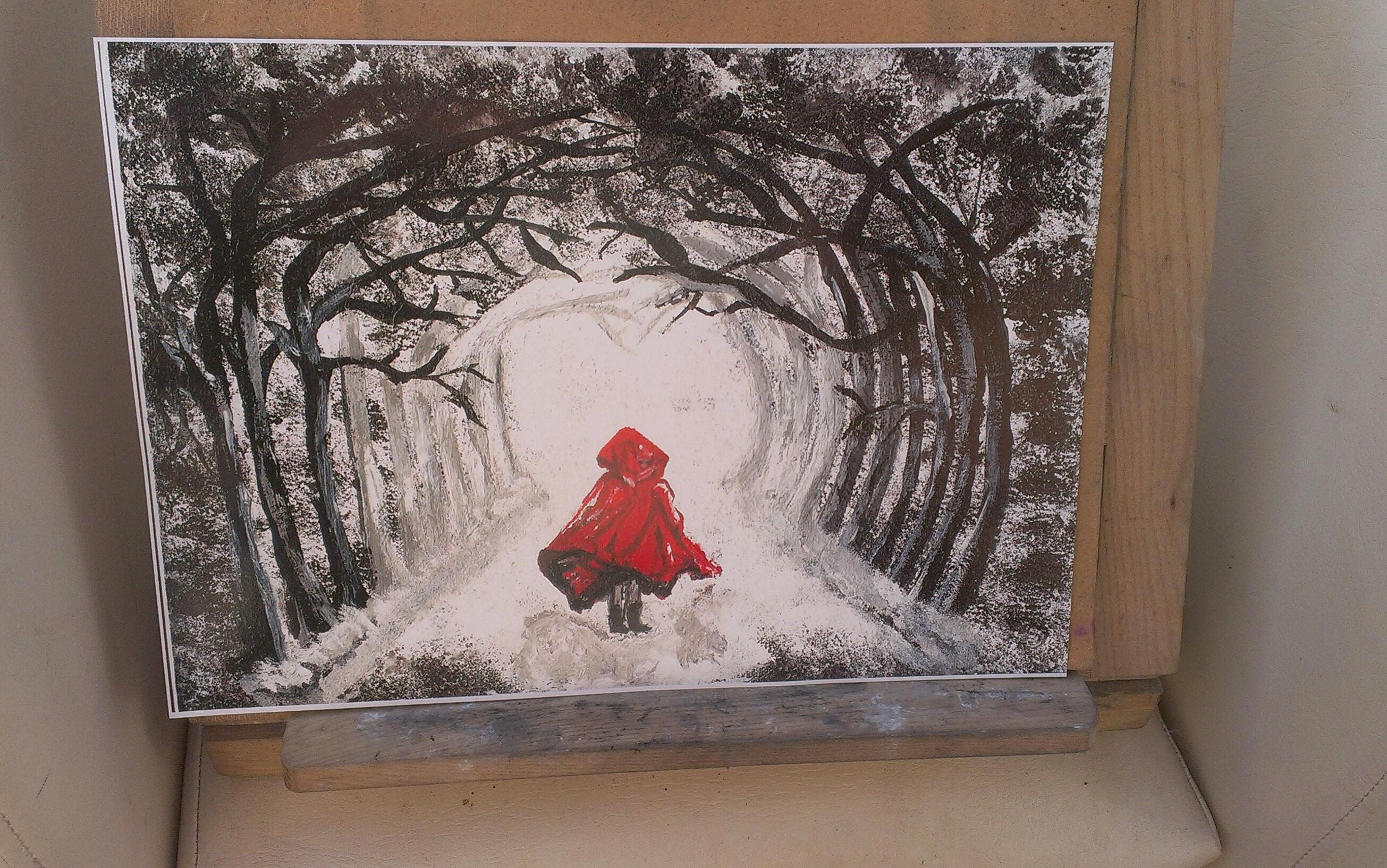 Red Riding hood snowy woods print