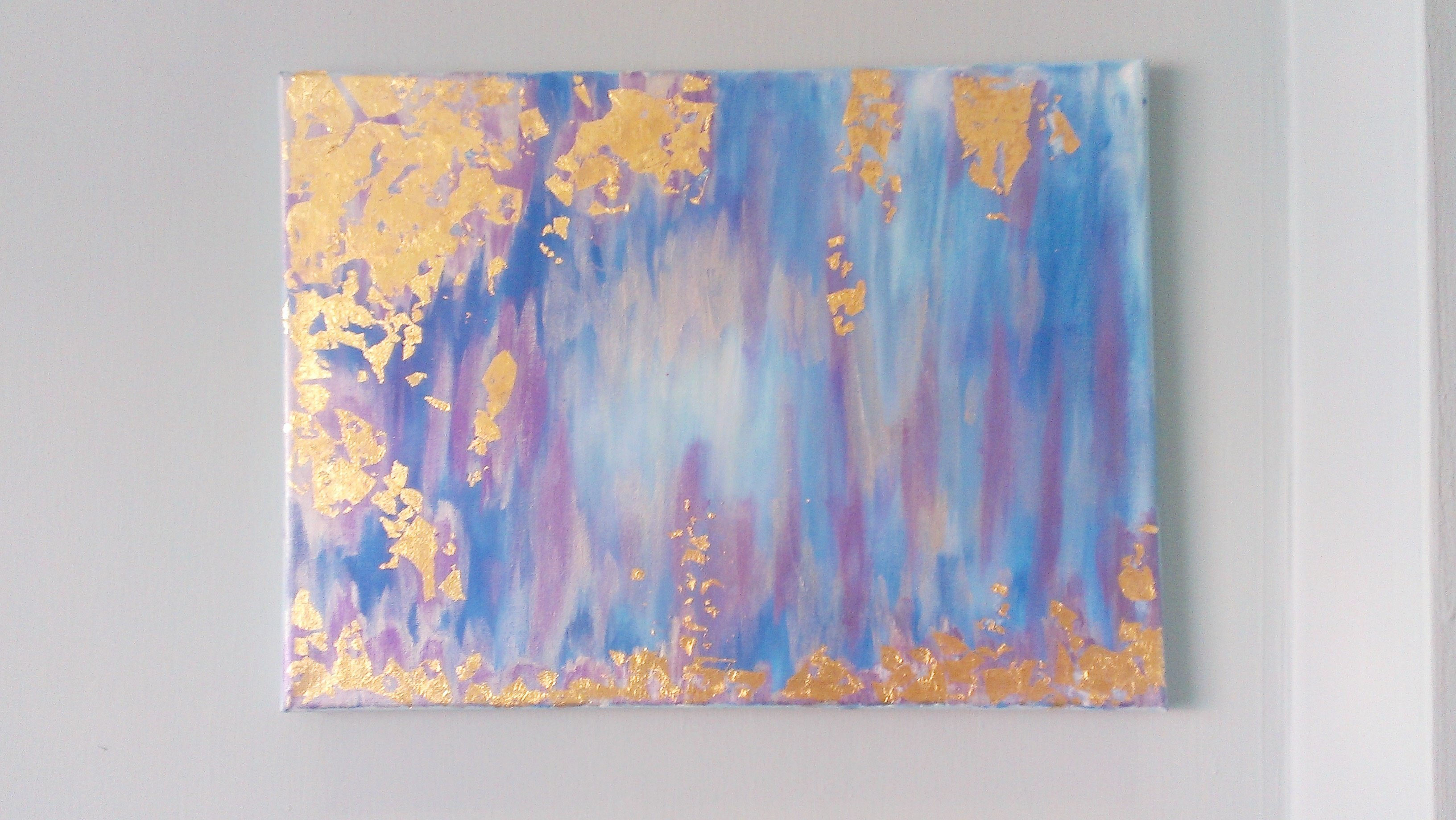Gold leaf northern lights painting original