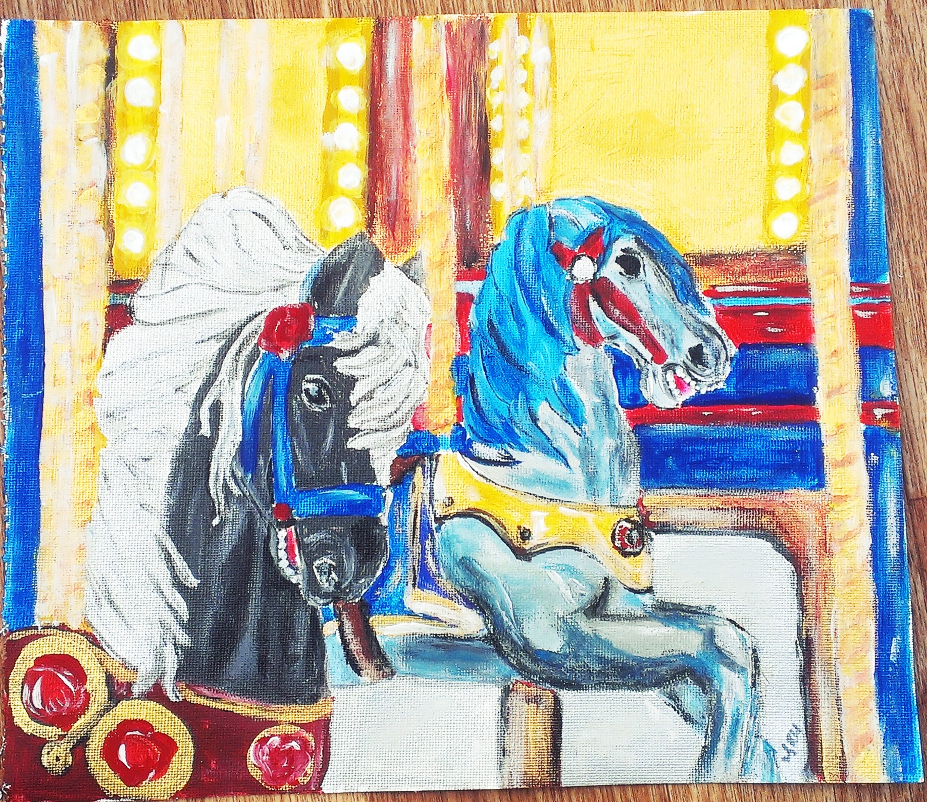 Carousel horses traditional colourful original painting acrylics