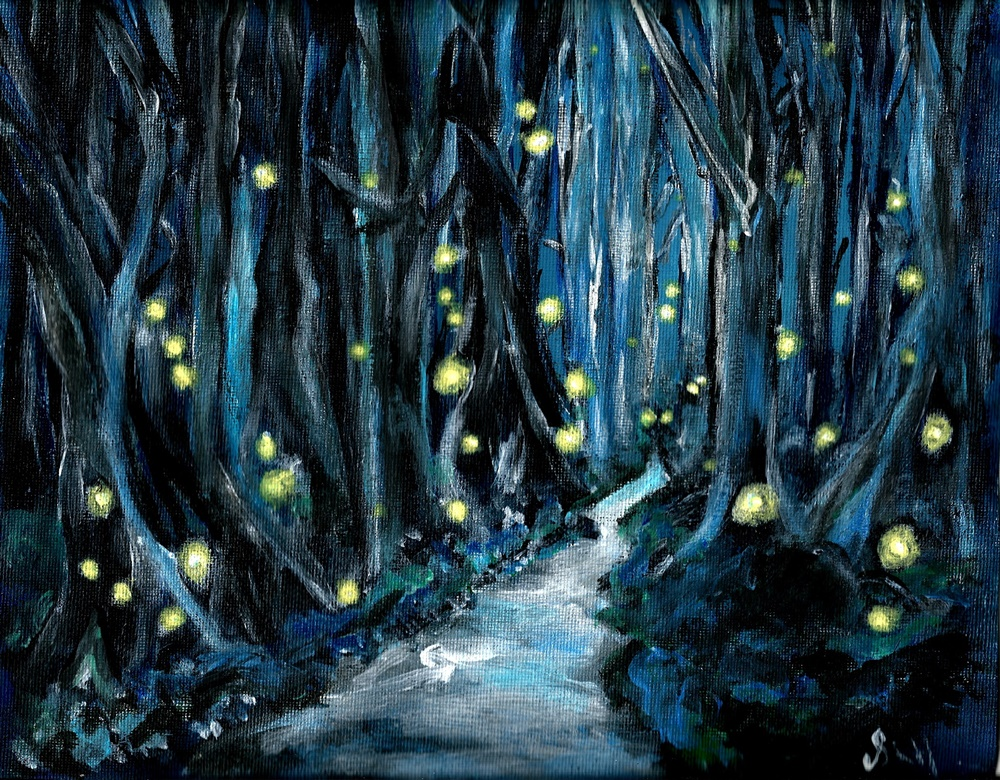 Midnight Eerie Woodland Orbs Acrylic Painting