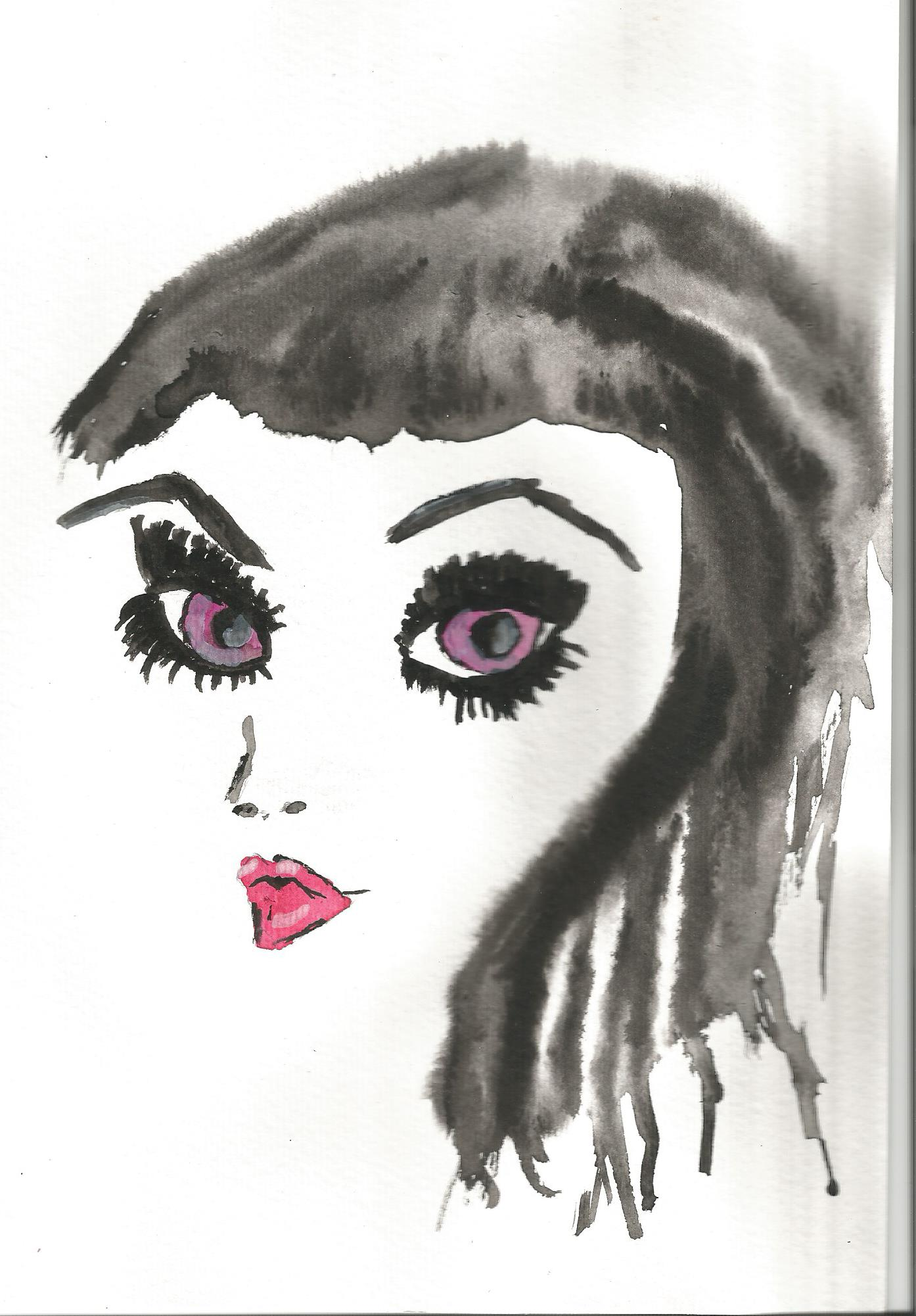 Green Eyes Gothic Girl Watercolour