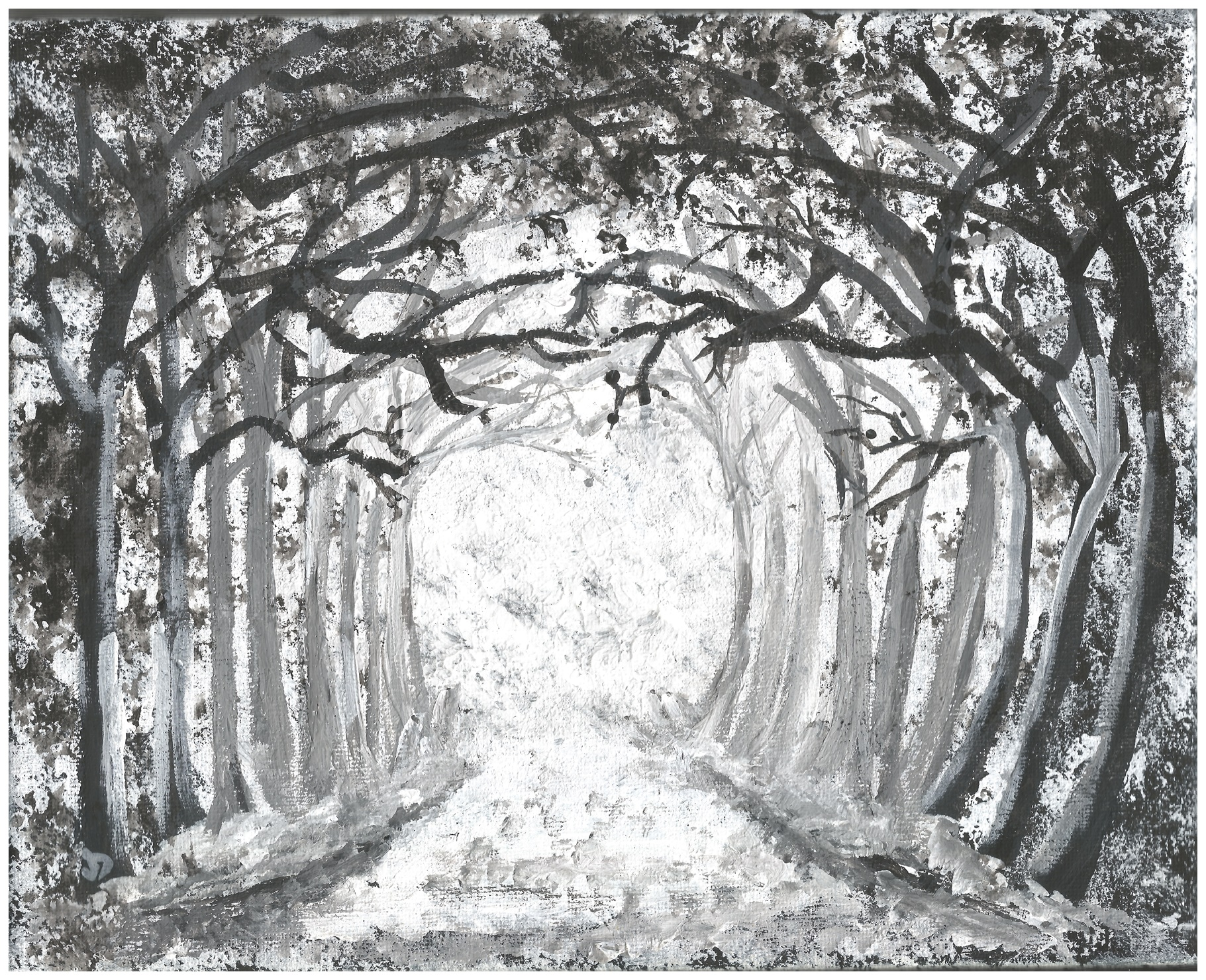 Black And White Print Of Original Painting Snowy Woods Acrylics