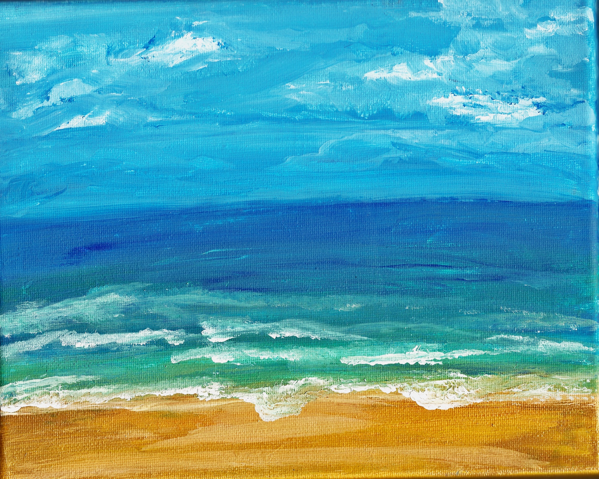 Print of original seaside painting A4 on watercolour paper