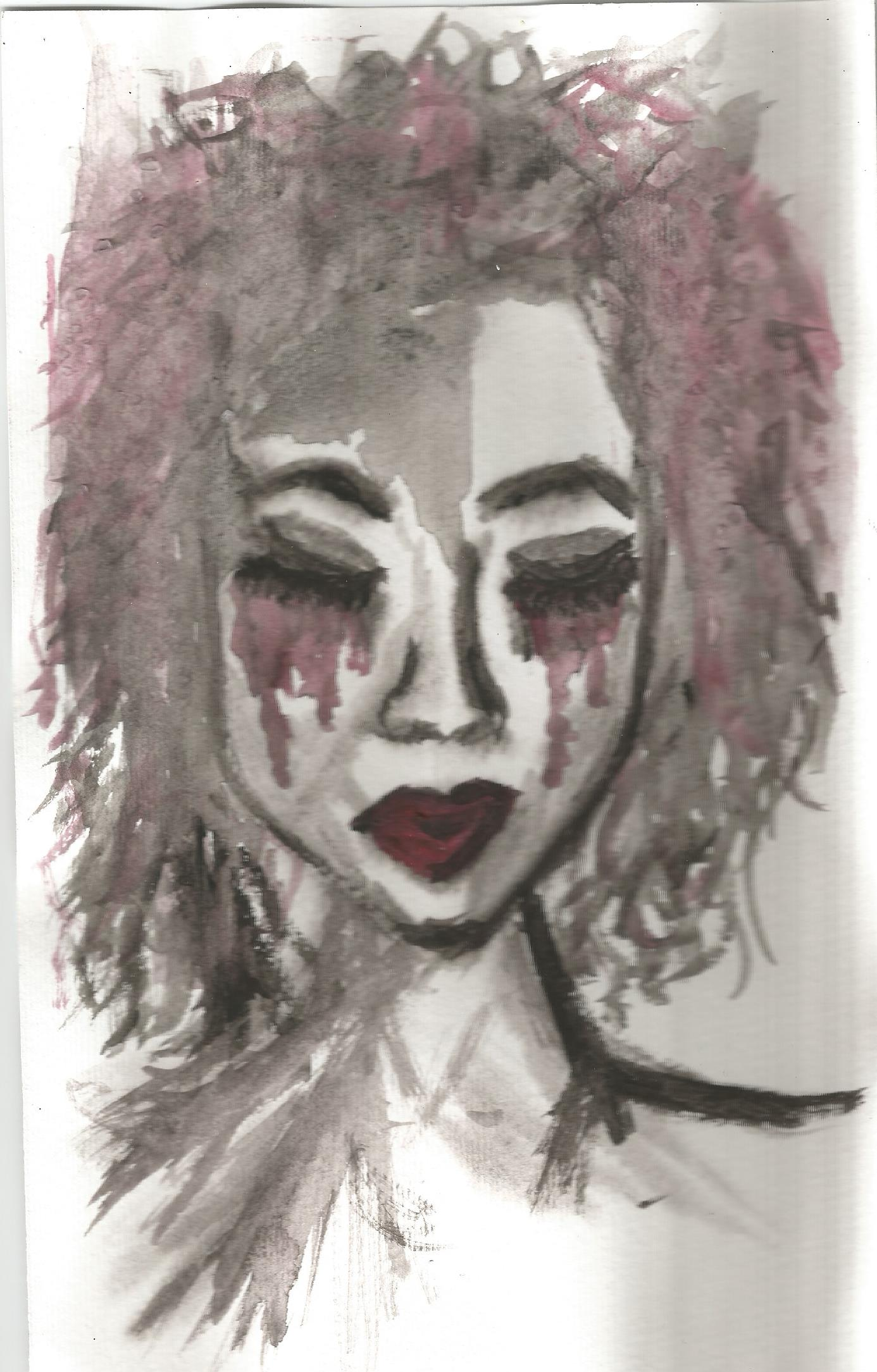Original watercolour red tears