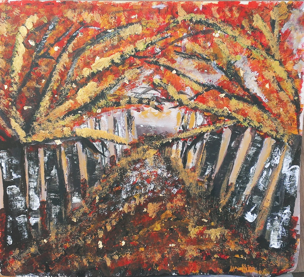 Autumn trees with gold leaf original painting