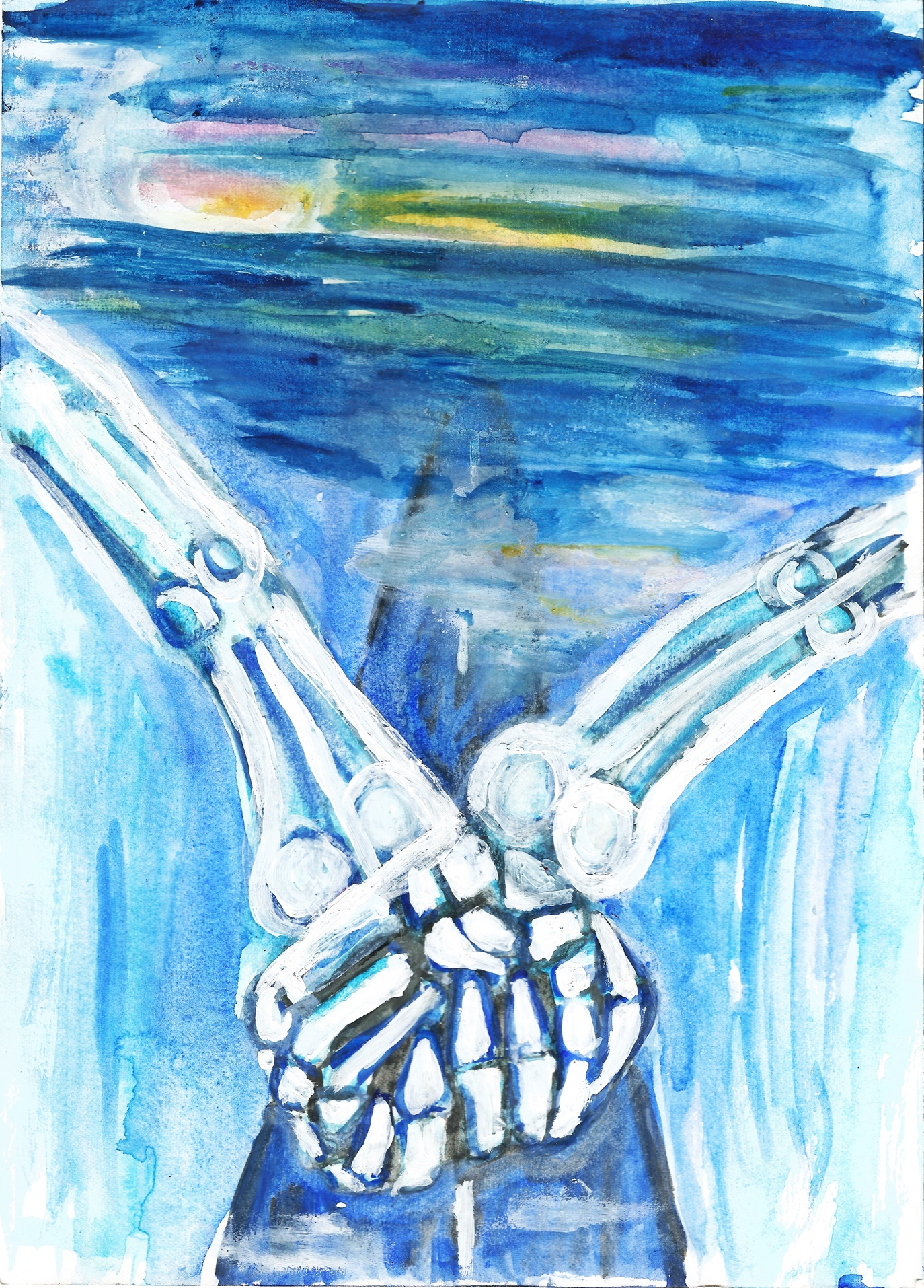 Skelly love, Holding Hands original watercolour painting
