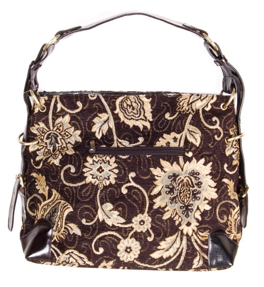 Boho Victorian look tapestry carpet bag black and gold beaded