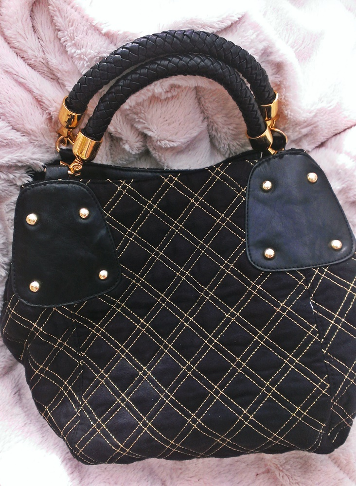 Black and Gold quilted gold hardware bag