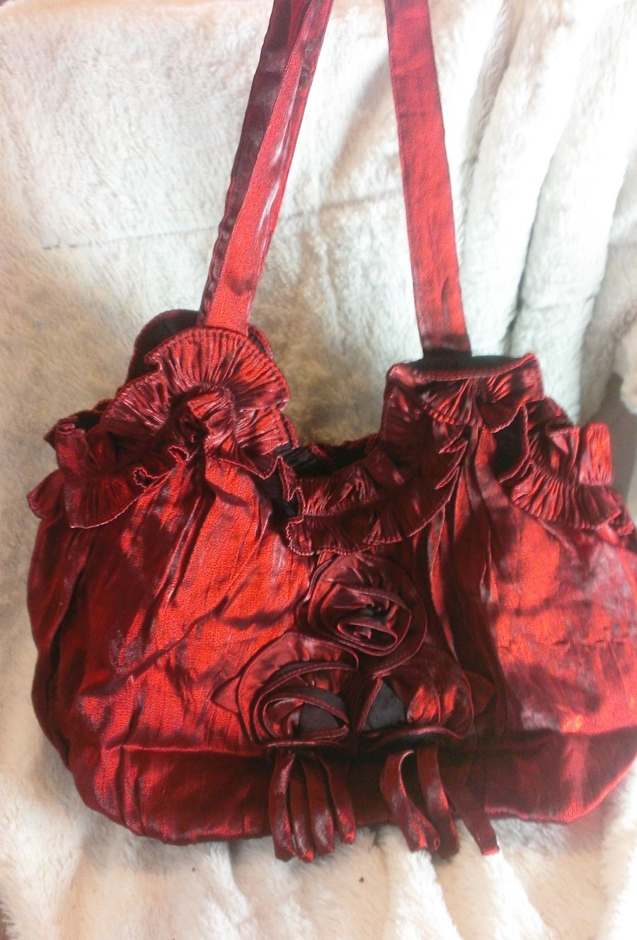Boho Deep Red Taffeta Silky Feel Rose Bag