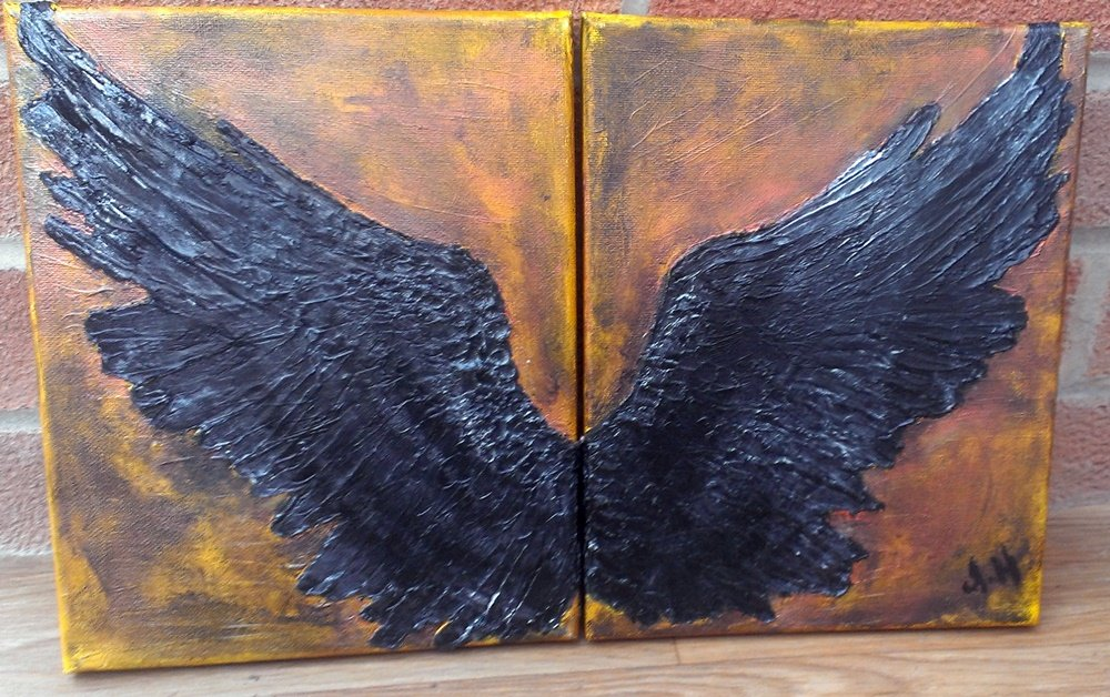 Black Wing Art Sculpted, Antique Background  The Flight