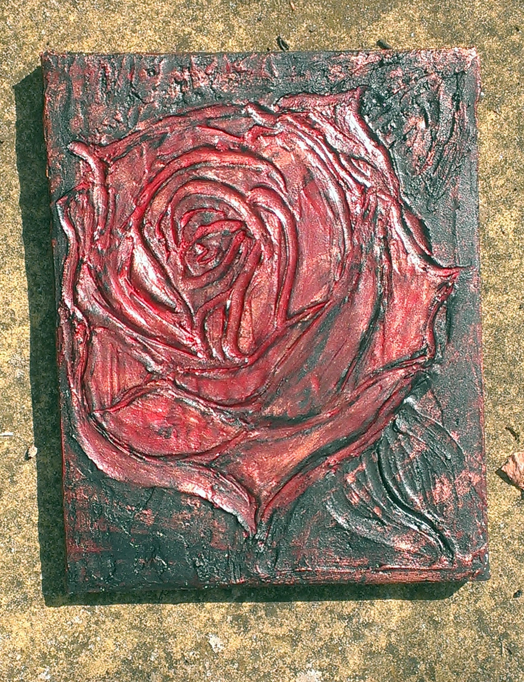 Gothic textured rose bronze metallic with red and black hues hand painted made by samirhall 8x10 canvas