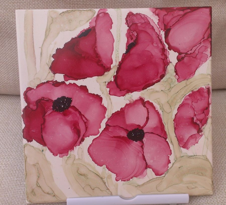 Alcohol ink hand painted poppy tile varnished 6 x6 inch feature tile, picture, placemat