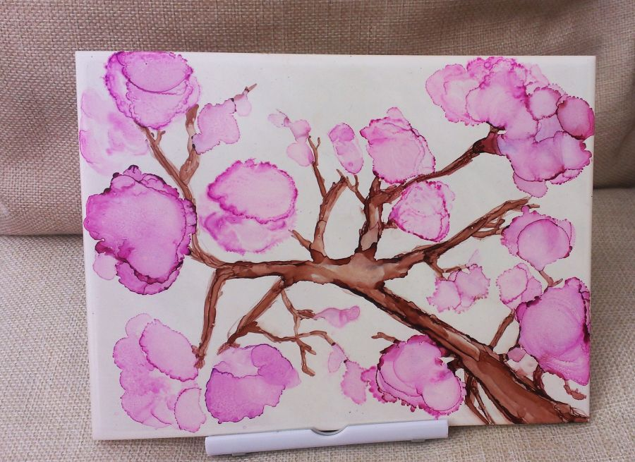 Cherry blossom alcohol ink 8 x 6 inch sealed painting art original