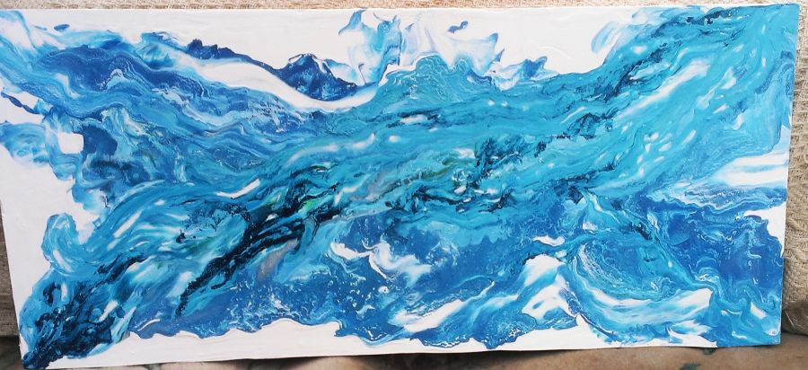 Blue Wave Sea Pour Abstract painting Art on MDF Board