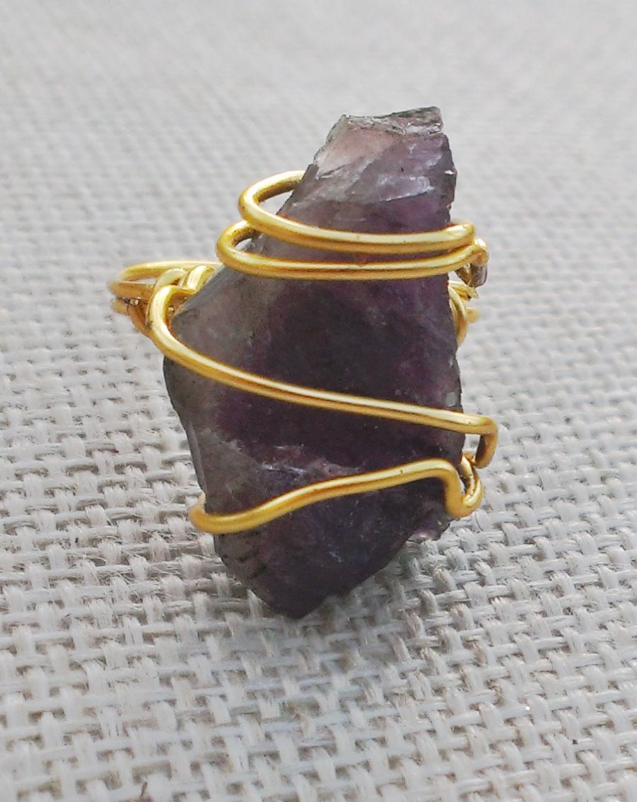 Crystal  Wire wrapped knuckle duster rings different sizes, choose from amethyst, citrine, clear quartz