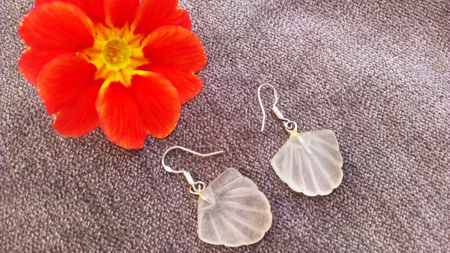 Handmade Sea Glass Shell Sterling Silver Hook Drop Earrings