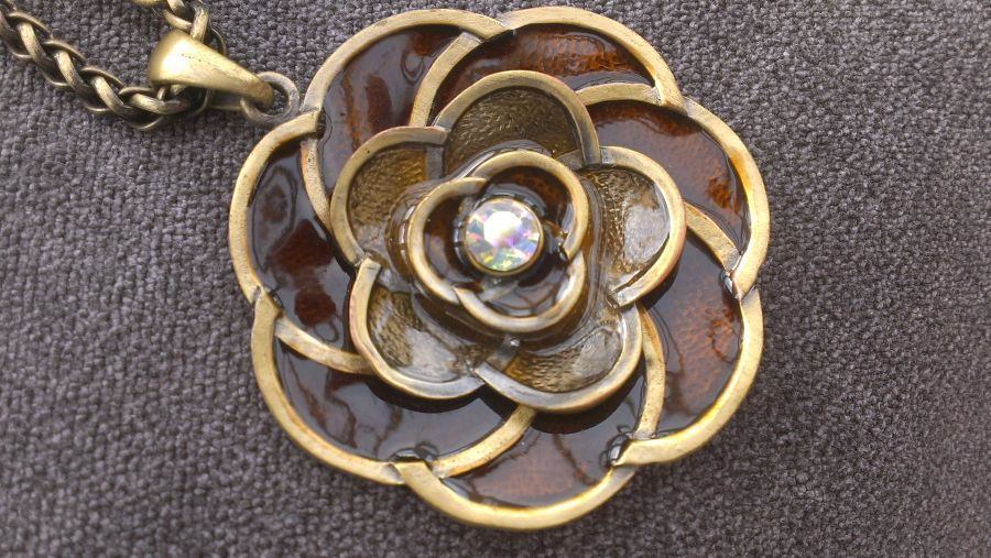 Enameled Flower Bronze Crystal Pendant