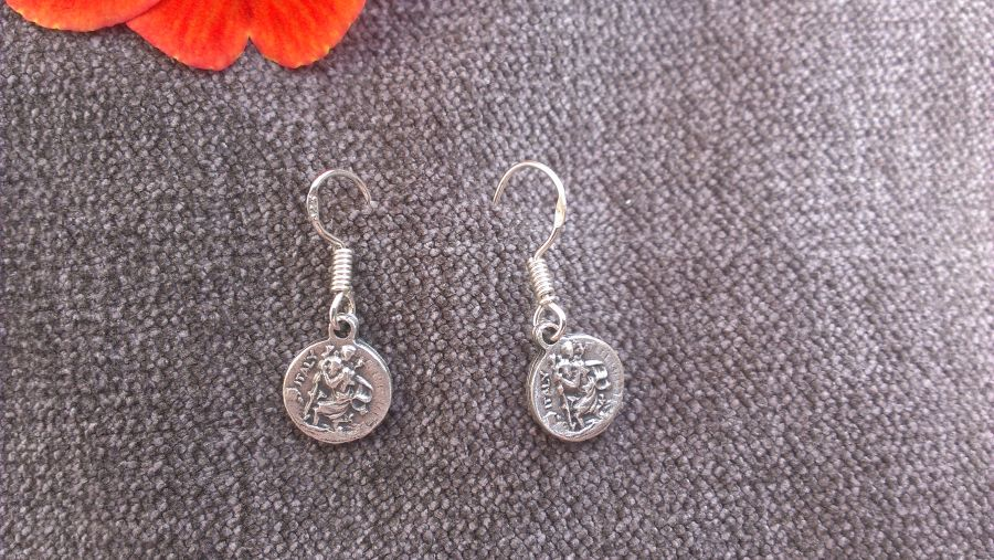 St christopher protector during travel medal drop earrings