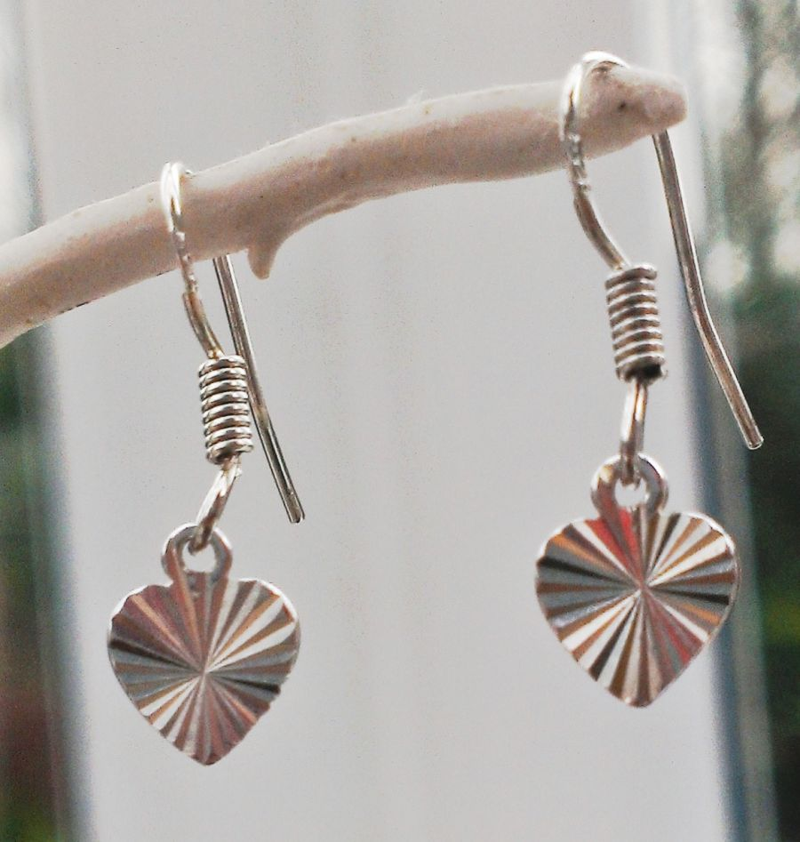 Sterling silver dainty heart drop earrings