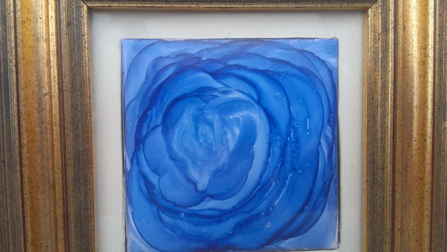 8x8 gold framed mounted blue alcohol ink flower rose tile hand painted