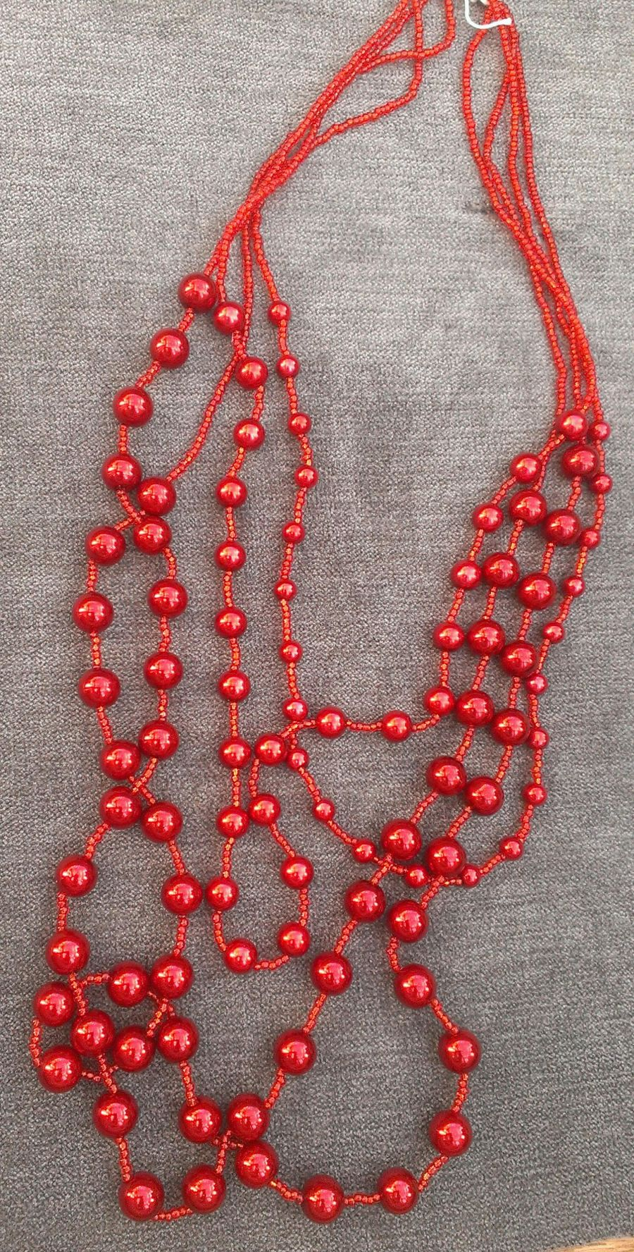 Faux deep red pearl 4 strand beaded necklace
