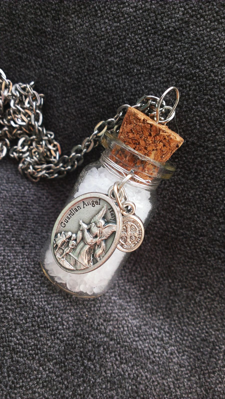 St Michael, Guardian Angel, St Benedict, seasalt jar pendant.