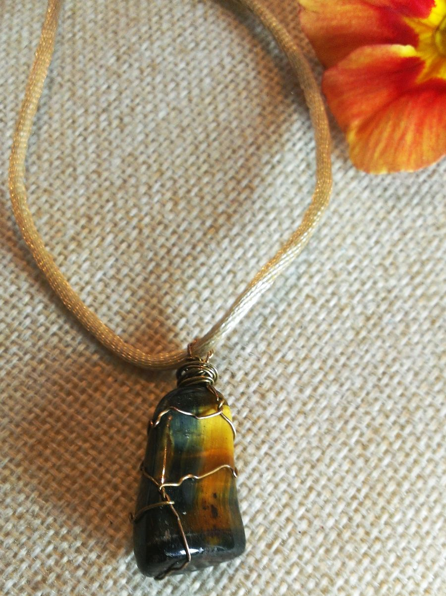 Tiger Eye Wire Wrapped Pendant On Silk Cord