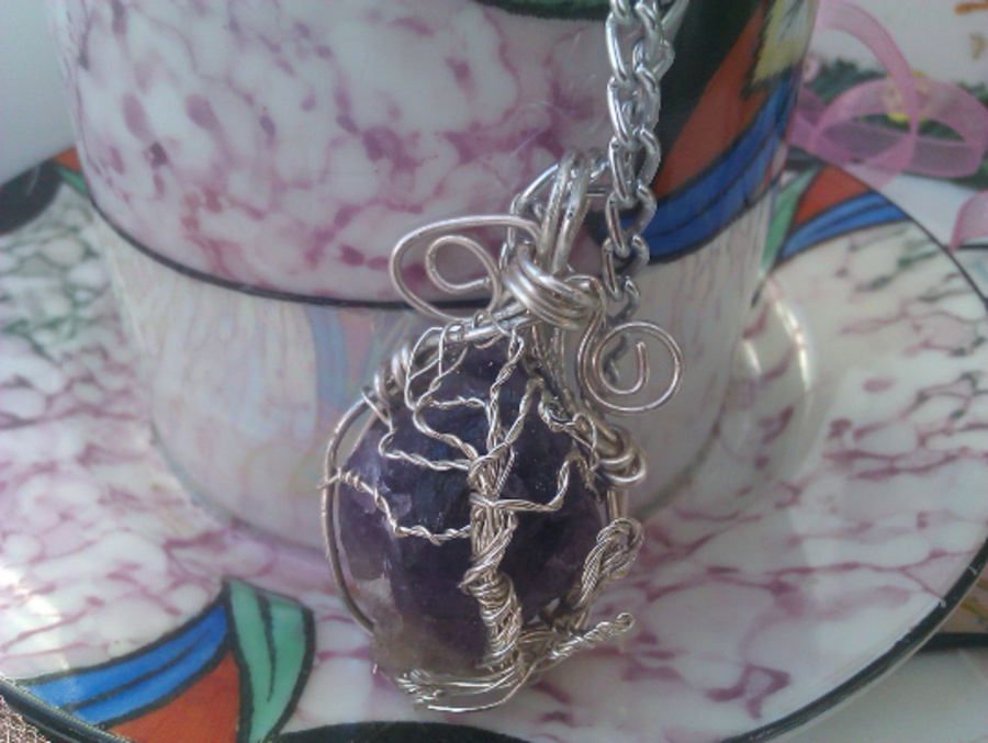 Amethyst Tree Of Life Wire Wrap Pendant Handmade