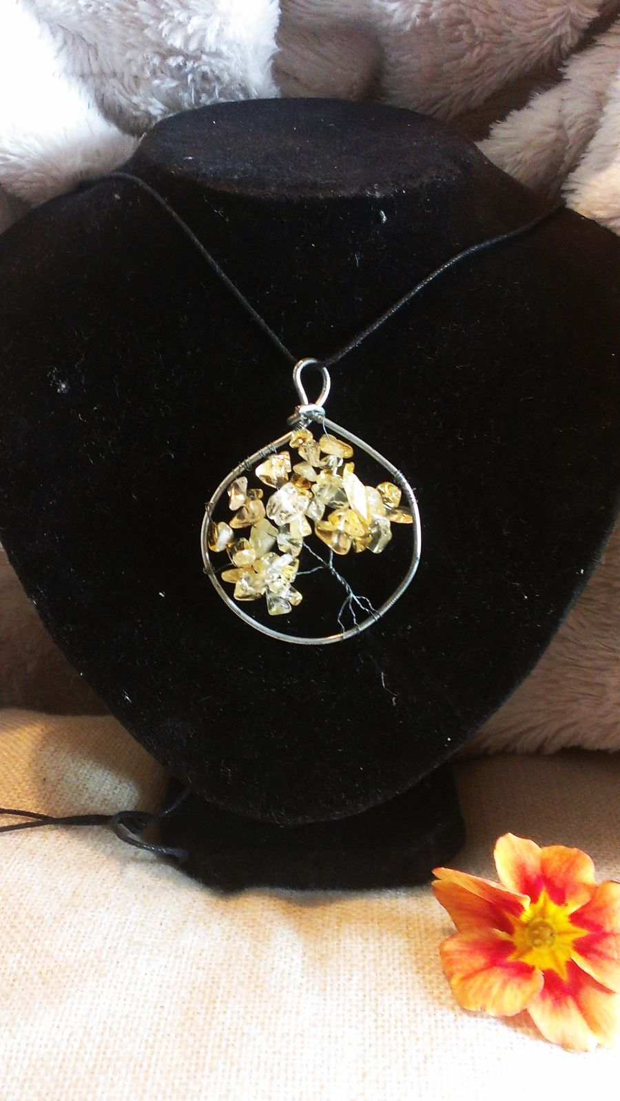 Citrine Gemstone Tree Of Life Pendant
