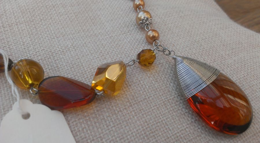 Faux Amber Beaded Wire Wrap Pendant