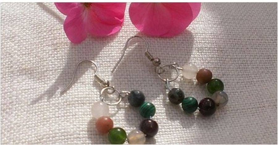 7 stone Gemstone Earrings Handmade