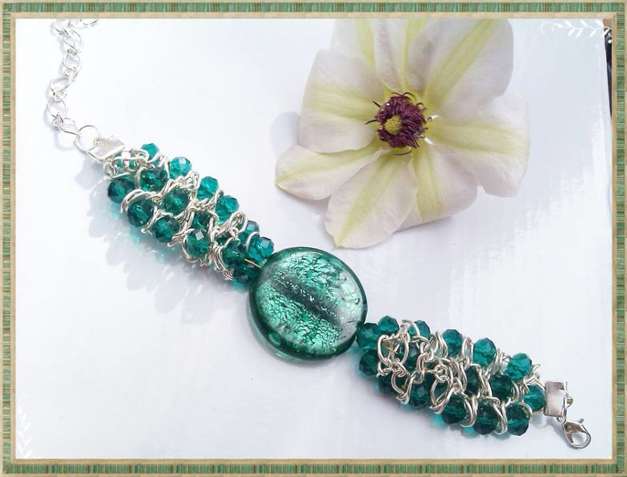 Emerald Green Chain Crystal Foil Bead Bracelet Cuff Handcrafted