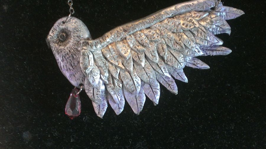 Hand Sculpted Beautiful Owl Necklace