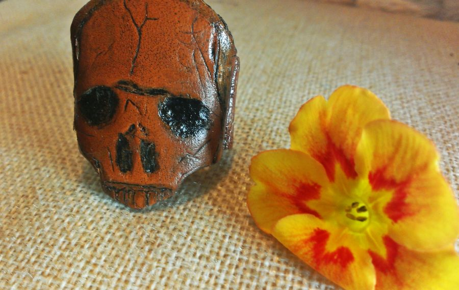 Mens Skull Hand Crafted Real Leather Tan Ring Size Large